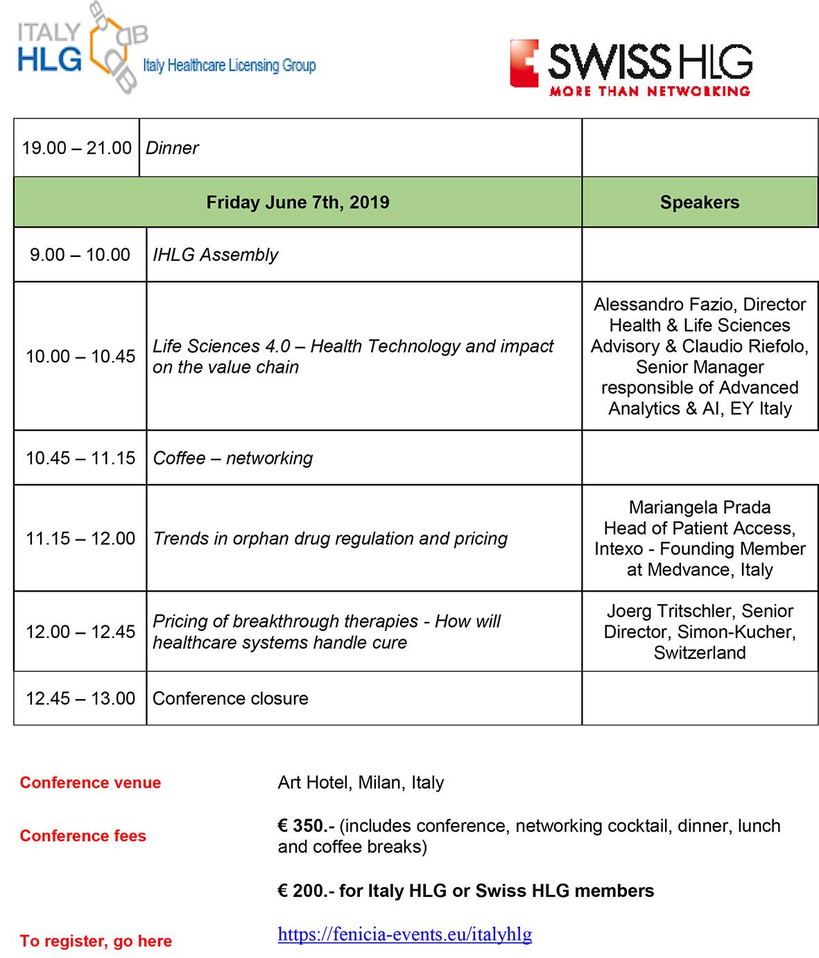 IHLG-SHLG Milan conference program22019-2 - Swiss Healthcare
